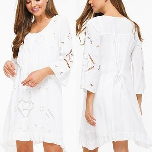 Last☝️ White Embroidery Cutout Shift Dress +Slip